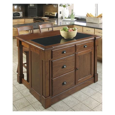 Home Styles Aspen Granite Top Kitchen Island with Two Stools and Drop Leaf Kitchen Islands and