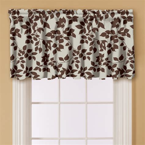 brown valance curtains essential home print window valance brown free shipping
