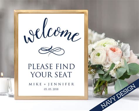 Welcome Please Find Your Seat Sign Template Instant Download Find Your Seat Template