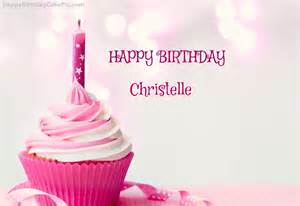 Happy birthday cupcake candle pink cake for christelle