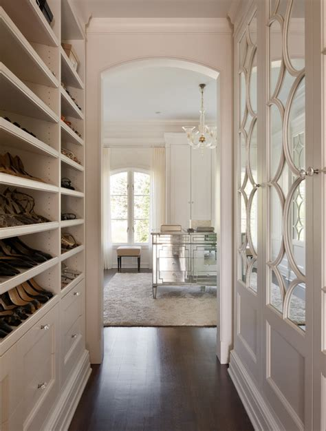 mirrored dressing room built in shoe shelves transitional closet