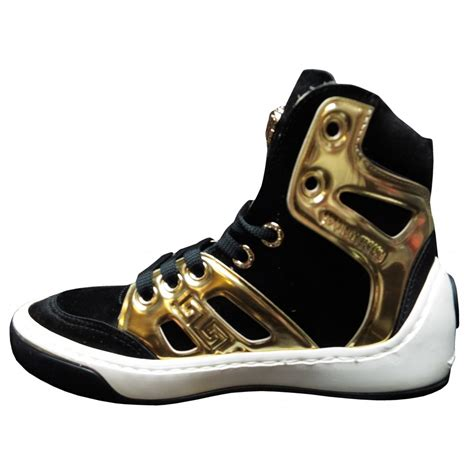 versace black and gold high tops
