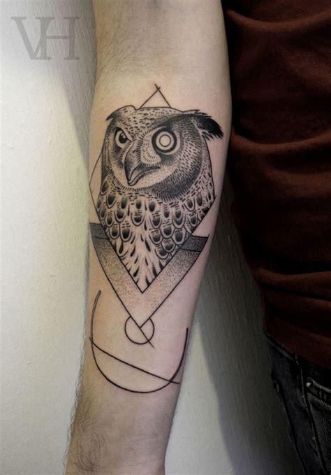 tattoo geometric london blade runner owl aka london blade runner dotwork