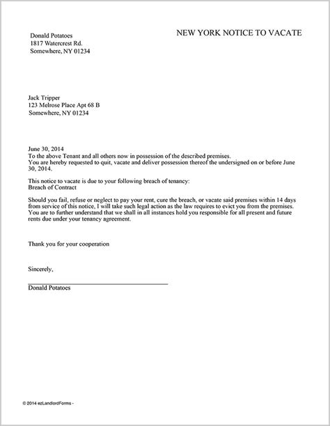 Notice To Vacate Form Ny Form Resume Exles Bjzeervz9l Template For Notice To Vacate From Landlord