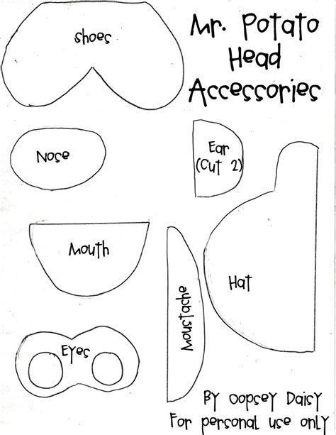 free mr potato head parts coloring pages