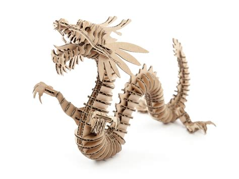 Case Cutlery Kitchen Knives D Torso Laser Cut Cardboard Animals Dragon 133