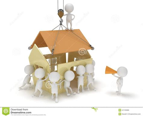 create a house 3d people build a house stock illustration image 41133086