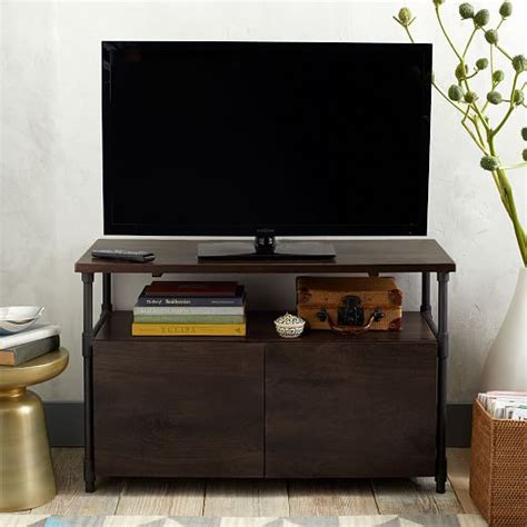 west elm media cabinet pipe media console short west elm