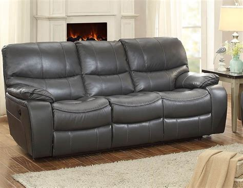 Pecos Gray Double Reclining Sofa From Homelegance Gray Recliner Sofa