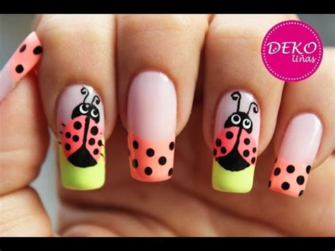 decoracion de uñas tutorial nail art ladybug dise 227 177 o de u 227 177 as
