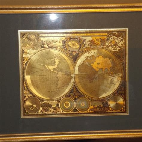 find  antique style world map  gold foil nova totius