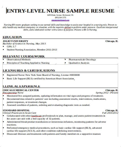 New Grad Rn Resume With No Experience by 7 Sle New Resumes Exles In Word Pdf