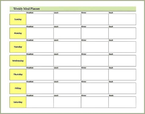 printable weekly menu planner with snacks 8 best images of printable meal planner free meal plan