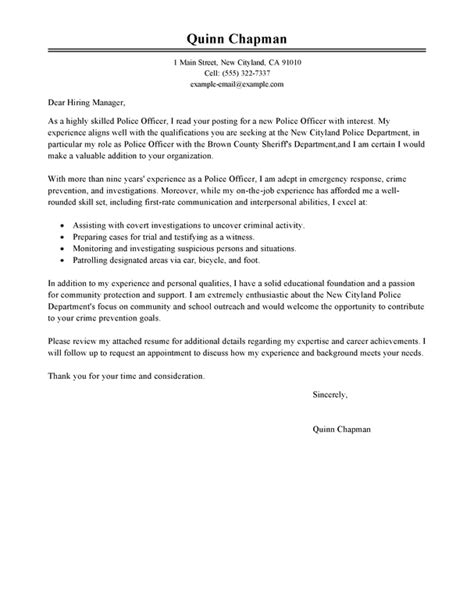 Enforcement Cover Letter Format Officer Cover Letter Exles