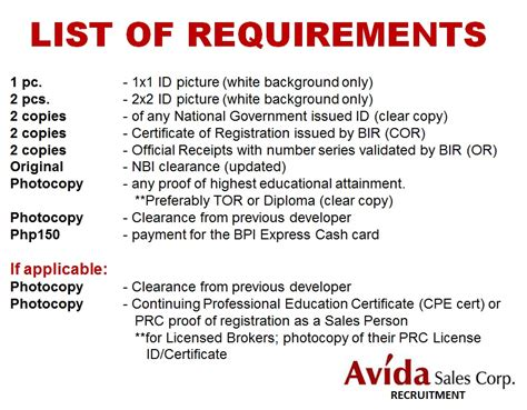List Of - list of requirements avida sales corp south recruitment