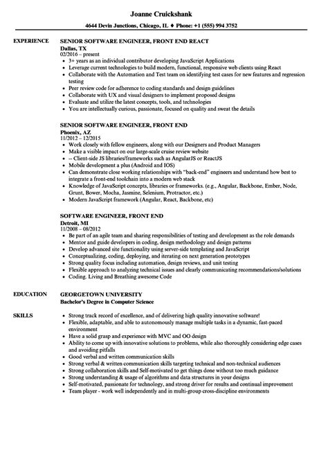 sle resume for software engineer with 2 years experience software engineer front end resume sles velvet