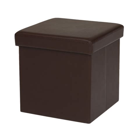Ottoman Footstool Brown Ikayaa Faux Leather Folding Storage Ottoman Footstool Lovdock