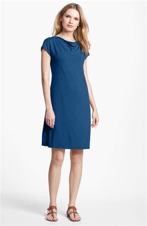 drape jersey dress eileen fisher drape neck jersey dress in blue teal lyst