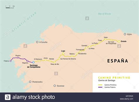 camino pilgrimage map camino de santiago map stock photos camino de santiago