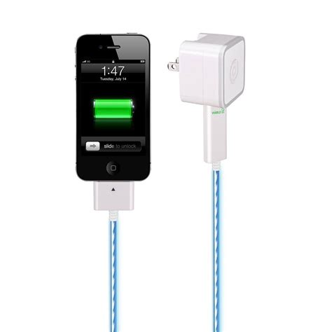dexim visible green illuminated iphone charger and sync cable
