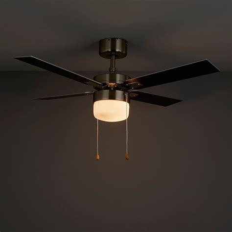 chrome ceiling fan with light san antonio black brushed chrome effect ceiling fan light