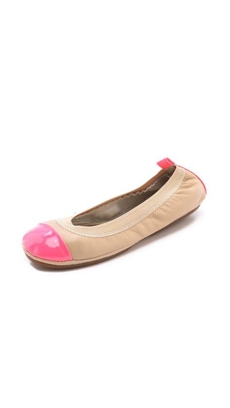 Flats Two Tone yosi samra two tone ballet flats in beige neon pink