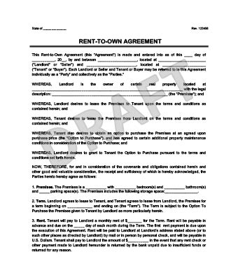 Rent To Own Agreement Create A Free Lease To Own Lease Agreement Rent To Own Agreement Template