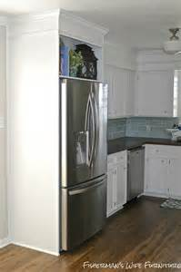 Refrigerator Kitchen Cabinet Small White Kitchen Makeover With Built In Fridge Enclosure Construction Home