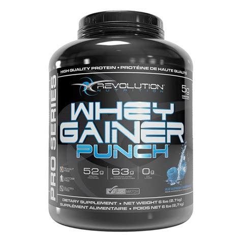 Whey Protein Gainer revolution nutrition whey gainer punch 6lbs free high protein isolate gainer free