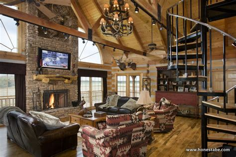 log cabin great room pictures paris vacation log cabin by honest abe log homes inc