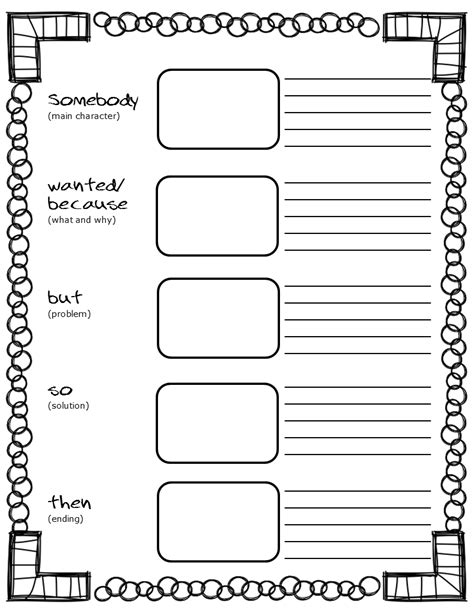 blank biography graphic organizer free printable somebody wanted but so then graphic