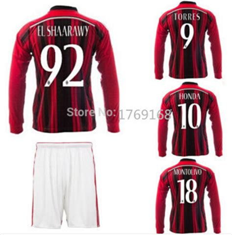 Jersey Bola Ac Miland Home Loong Ls Sleeve Official 17 18 Grade Ori kaka torres ac milan sleeve soccer jersey 2015 ac milan 14 15 sleeve jersey montolivo