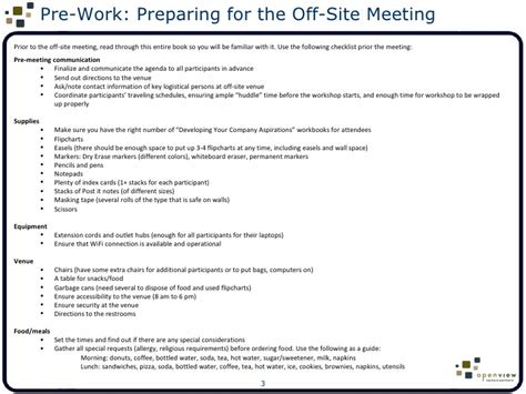 offsite agenda template facilitator s guide to setting aspirations