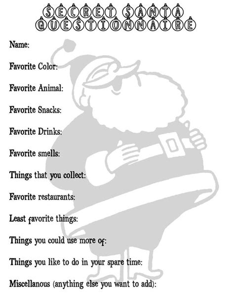 Gift Letter Question 1000 Ideas About Secret Santa Questionnaire On Secret Santa Secret Santa Questions