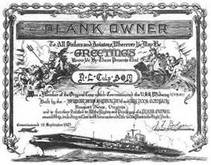 plank owner certificate 10 september 1945 bob culp