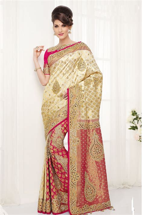 Sari Gold white and gold wedding sari www imgkid the image