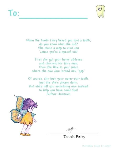 tooth fairy letter template editable features