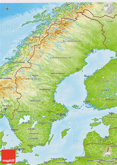 physical map of sweden physical 3d map of sweden