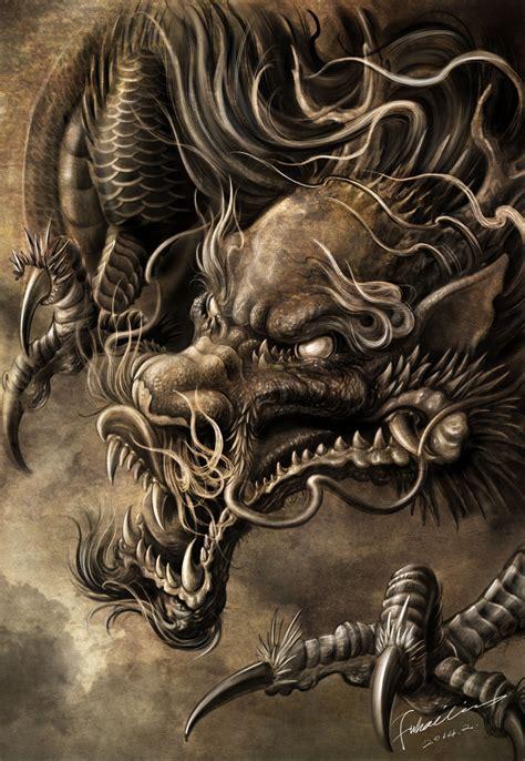 dragon head tattoo artwork by hailin fu www instagram