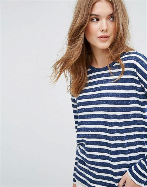 lyst classic stripe t shirt with contrast ringer in blue