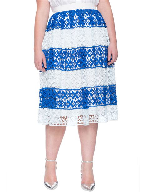 Striped And Floral Skirt striped floral lace skirt s plus size skirts eloquii