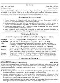 Career Objective In Resume For Experienced Software Engineer Software Engineer Resume Example Technical Resume