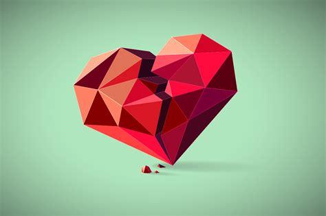 broken heart consisting  triangles illustrations