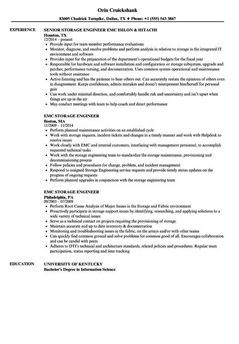 emc storage engineer sle resume resume sles for