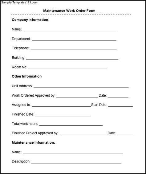 sle maintenance work order form sle templates