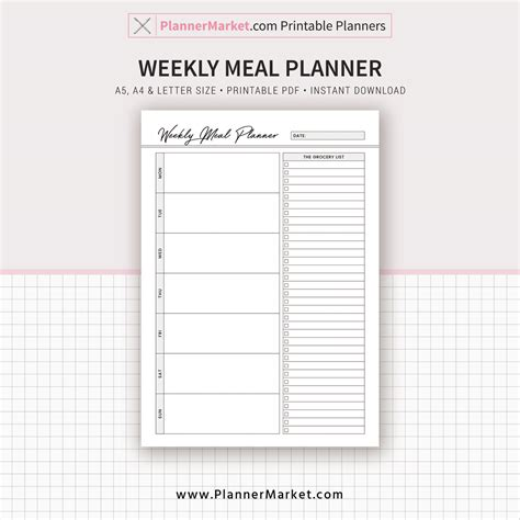 printable a4 weekly meal planner weekly meal planner inserts 2018 menu planner monthly