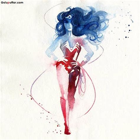 attractive wonder women tattoo design made with aqua ink