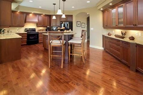 kitchen wood flooring ideas dark cabinets lighter wood floors light countertops