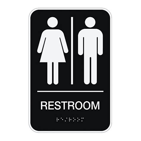 Bathroom Signs For Office Cosco Ada Menswomensunisex Restroom Sign 6 X 9 Black By Office Depot Officemax