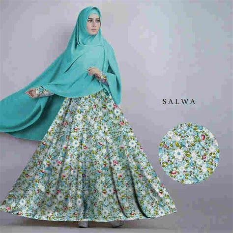 Salwa Syar I grosir baju gamis motif bunga gamis murni